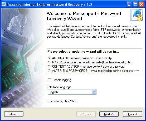 Internet Explorer Password Recovery 1.1
