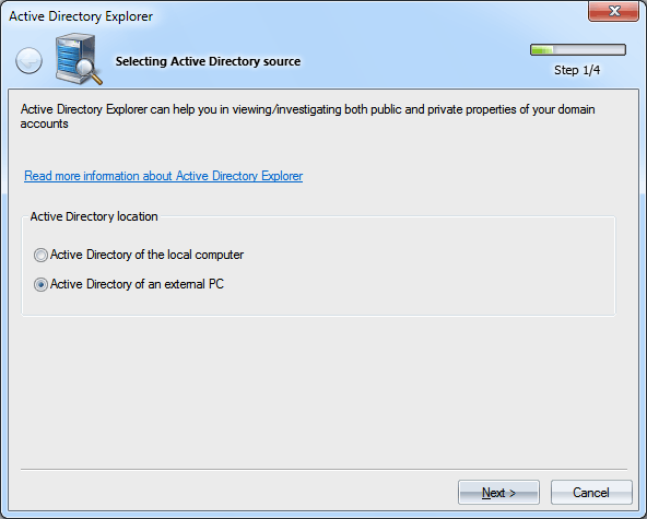 Selecting Active Directory database