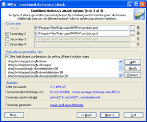 Combined dictionary attack options