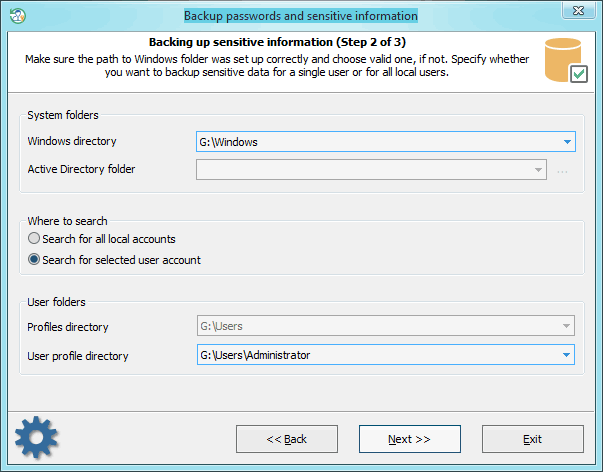 Back up passwords: setting additional options
