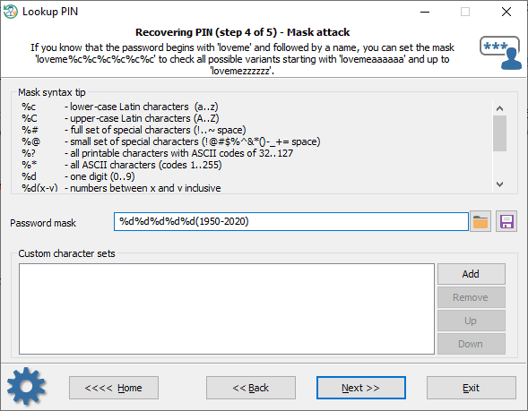 Optimizing mask when recovering Windows PIN