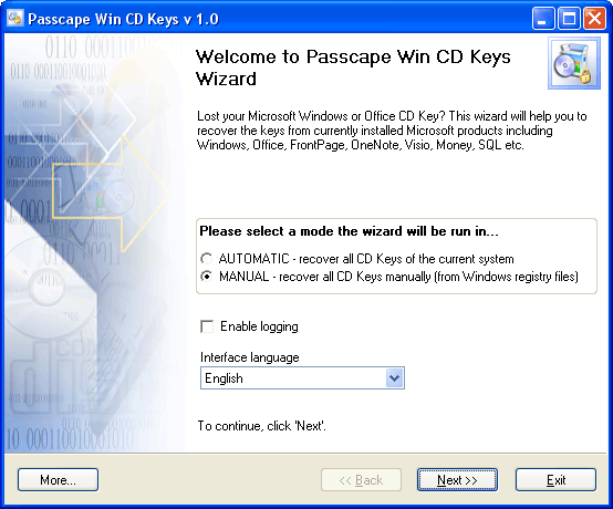 Passcape Win CD Keys 2.7.0