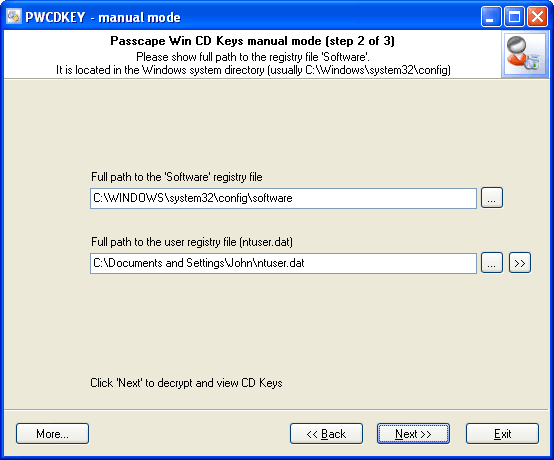 Win CD Keys manual recovery