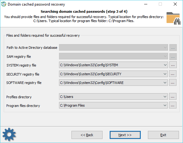 Selecting source files where credentials reside