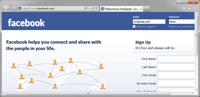 Создание тестового пароля Facebook