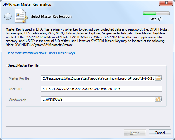 Selecting DPAPI Master Key
