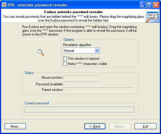 Eudora asterisks password revealer
