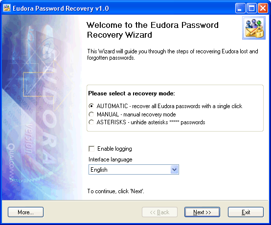 Click to view Eudora Password Recovery 1.6.4 screenshot