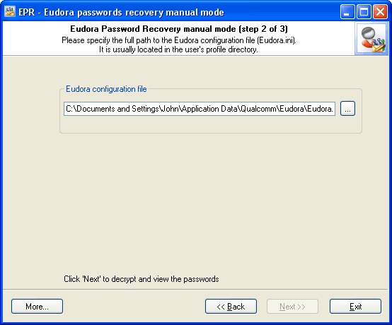 Eudora Password Recovery manual mode