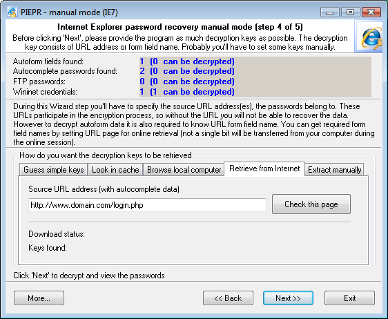 Internet Explorer 7 Passwords: retrieve encryption keys from internet
