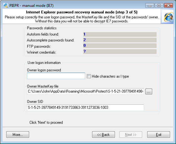 Internet Explorer 7 Passwords: recovering user's Master Key