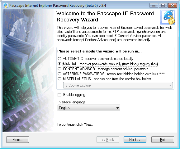 Internet Explorer 7 Passwords: selecting operating mode