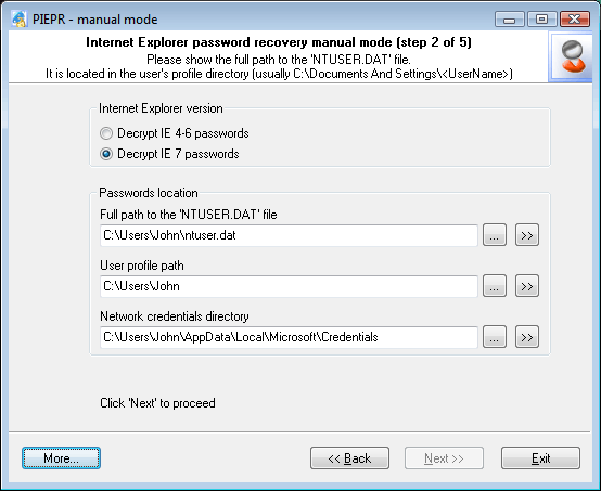 Internet Explorer 7 Passwords: defining data source
