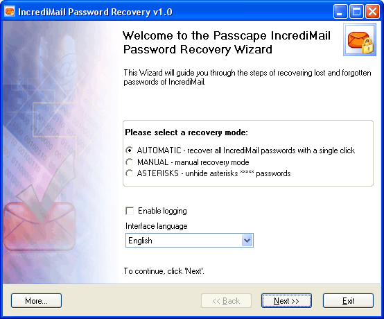 IncrediMail Password Recovery 1.4.3