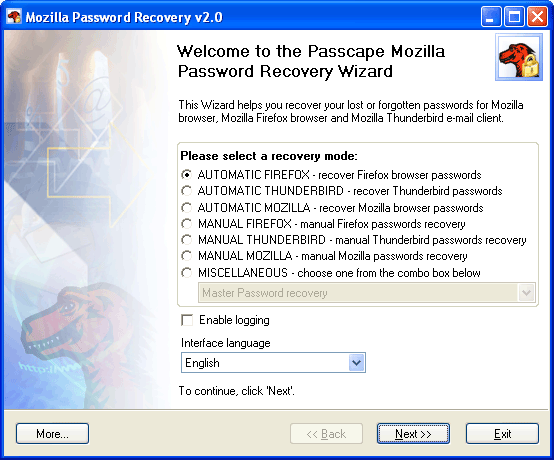 Click to view Mozilla Password Recovery 5.7.0 screenshot