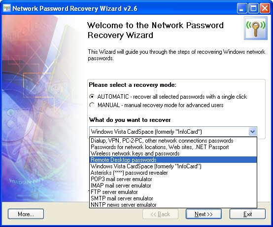Network Password Recovery Wizard Screen shot