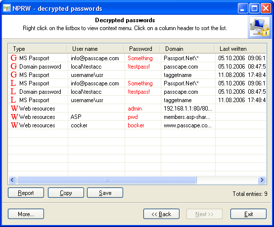 Recovered network credentials (auto mode)