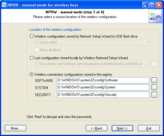 Recovering wireless keys and passwords manually
