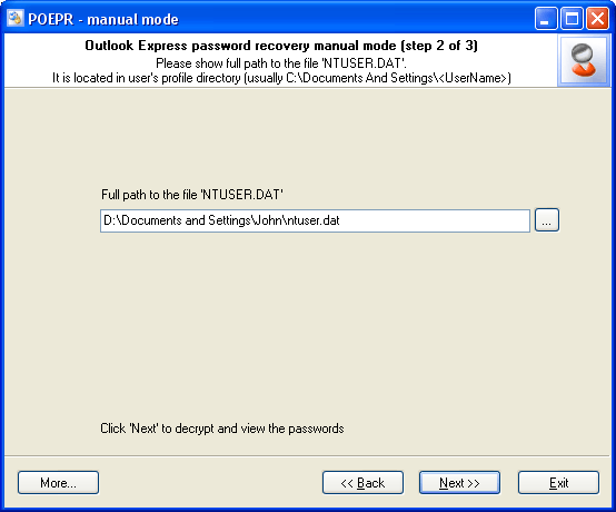 Outlook Express Password Recovery manual mode