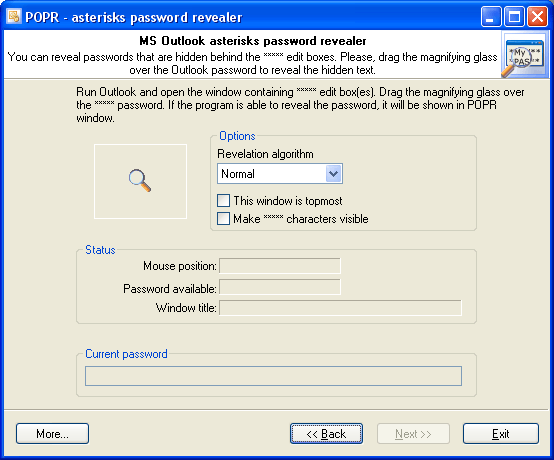 Outlook asterisks password revealer