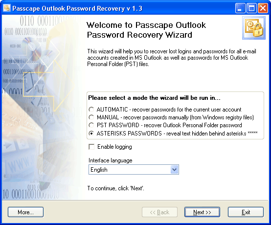 Click to view Passcape Outlook Password Recovery 2.6.0 screenshot