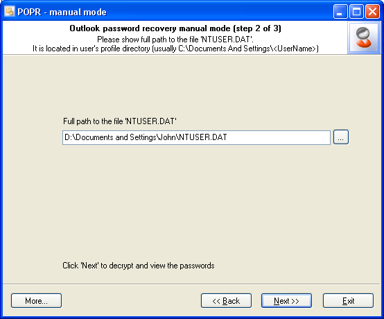 Outlook Password Recovery manual mode