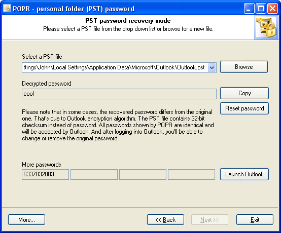 Personal Folder (*.pst) decrypted password