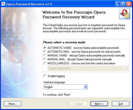 Recovers lost or forgotten passwords from the Opera browser