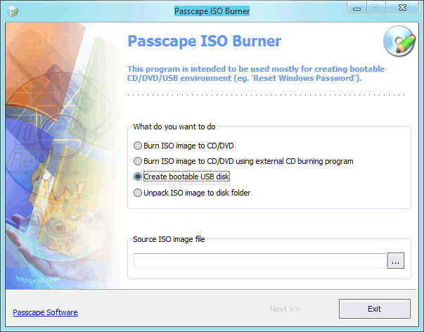 Passcape ISO Burner screenshot: boot, bootable, cd, disk, create, burn, iso, image, winpe, usb, bartpe, windows, free, tool, program, utility