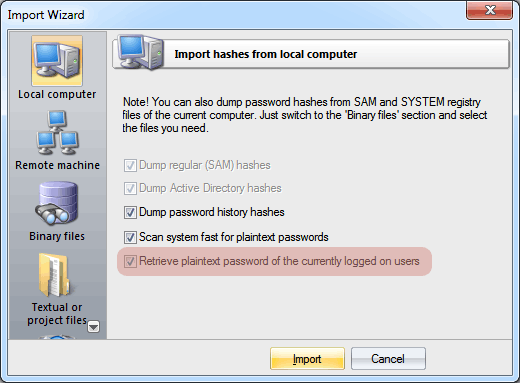 Recovering Windows plaintext password