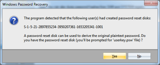 Recovering Password Reset Disk plaintext password
