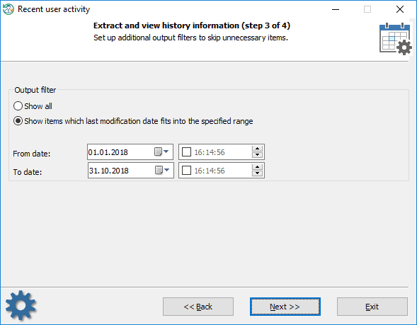 Setting output filters