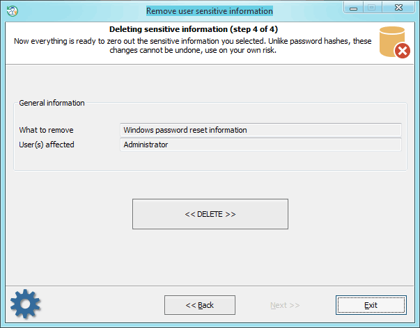 Deleting password reset information
