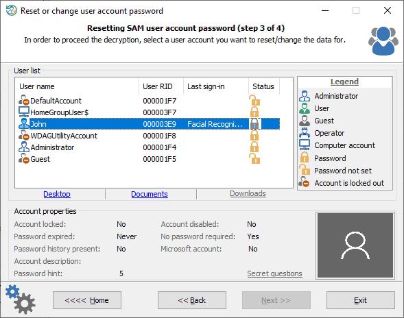 Reset or change user/admin password