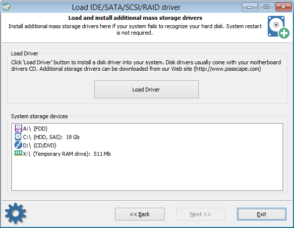 Loading additional hard disk drivers