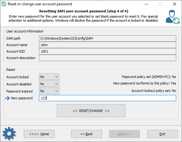 Resetting Windows password