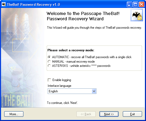 TheBat! Password Recovery - TheBat!, thebat, bat, mail, mailbox, password, account, user, lost, forgotten, r - Utility to recover TheBat! lost and forgotten email passwords