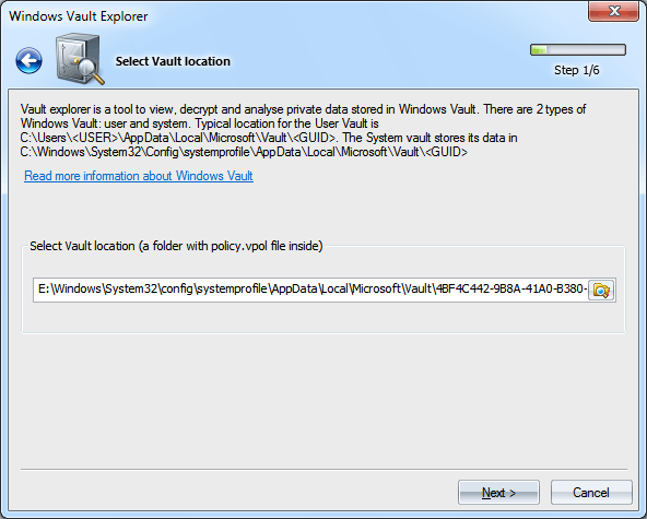 Windows Vault analyzer and decoder