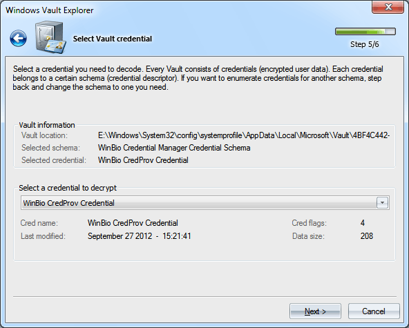 Windows Vault analyzer and decoder