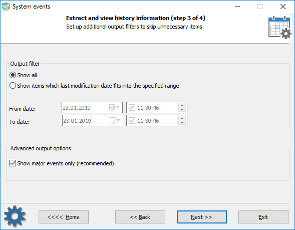 System events - setting output filters