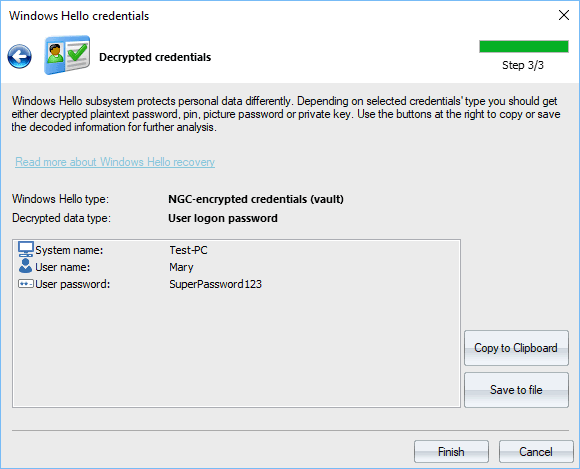 Windows Hello credentials - decrypted logon password