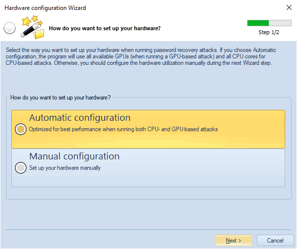 Hardware configuration Wizard