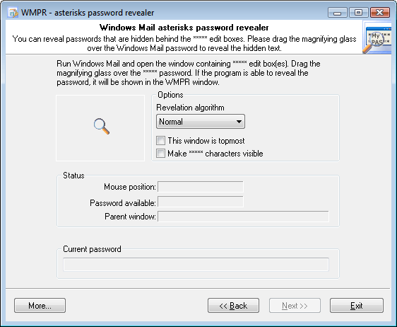 Windows Mail Password Recovery - asterisk revealer