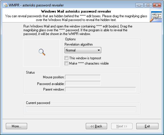 Windows Mail Password Recovery screenshots