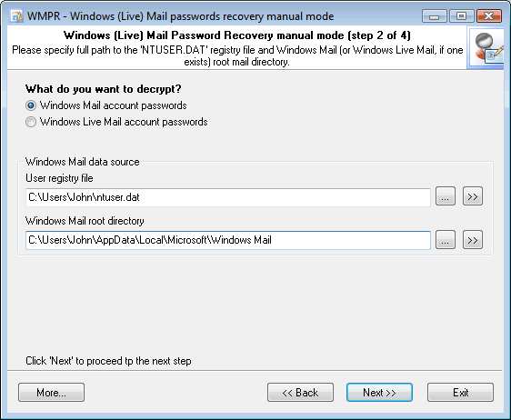 Windows Mail Password Recovery manual mode
