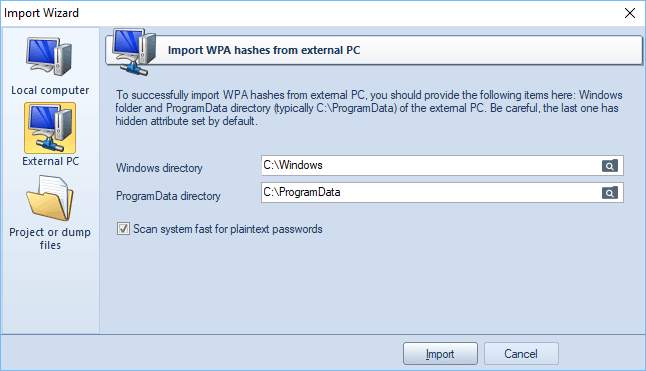 Loading WPA hashes from external PC